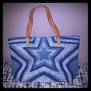 Inc woven tote - blue star design brand new